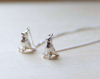 Sterling Silver Sparrow Bird Earrings