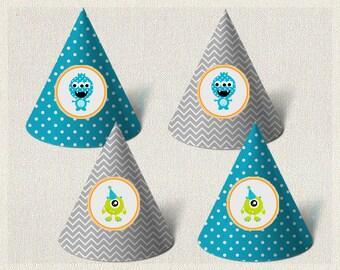 Printable Party Hats Birthday Monster Orange 1st 2nd 3rd Blue Green Boys IV-5