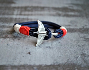 Blue whale tail mens paracord nautical bracelet   nautical wristband   nautische armband   pulsera hombre   dolphin tail bracelet