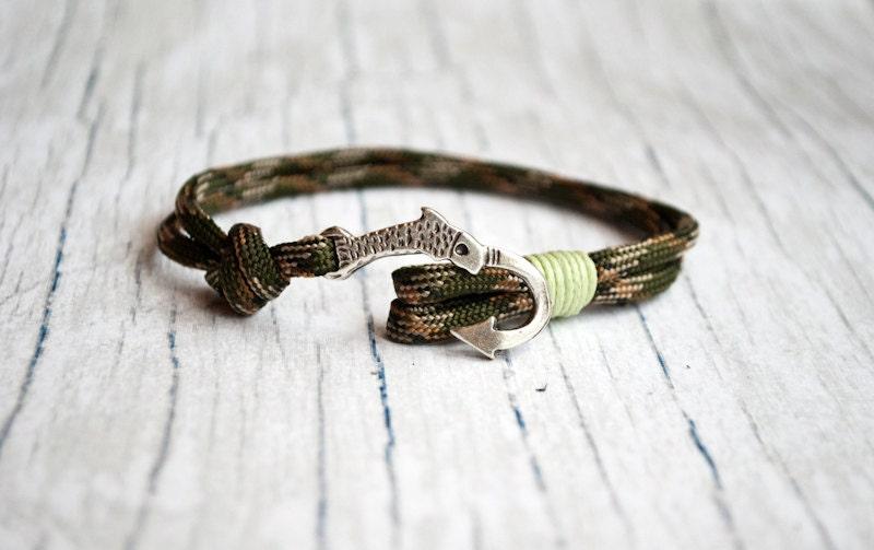 Fish hook bracelet mens bracelet nautical bracelet for men for Mens fishing bracelet