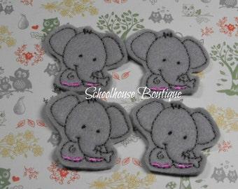 Cute Elephant felties, feltie, felt planner clip, felt bookmark, machine embroidered, felt applique, felt embellishment