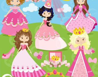 Princess in Pink Clipart, Princesses Clipart, Fairy Princess Clip Art, Commercial Use, AMB-892