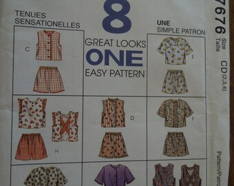 McCalls 7676, sizes 2,3,4, childrens, girls, tops and shorts, UNCUT sewing pattern, craft supplies