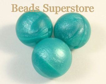 SALE 19 mm Turquoise Metallic Silicone Round Bead - Food Grade Teething Baby Bead - Teething Necklace Silicone Bead (19ROU31)