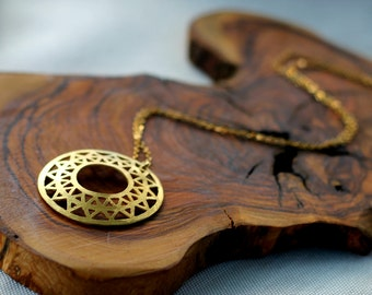 Sun Pendant, Sun Necklace, Gold Sun Amulet, Kabbalah Necklace, Flower of Life Amulet, Geometric Mandala, Mandala Pendant, Gold Amulet, gift