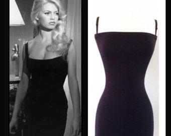 SALE The BARDOT Pencil Dress, Black Rockabilly 1950s Wiggle Dress, Semi Formal 50s Style Little Black Dress