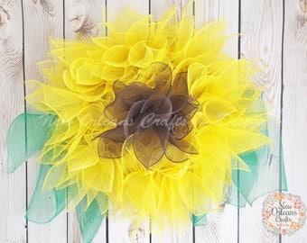 Sunflower Deco Mesh Wreath, Summer Deco Mesh Wreath, Summer Wreath, Sunflower Wreath, Summer Wreath, Deco Mesh Wreath, Yellow Mesh Wreath