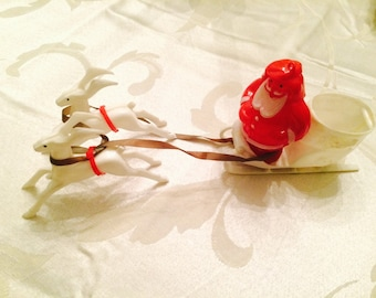 Vintage Christmas Holiday Santa Sleigh & Reindeer Plastic Candy Container 1950's