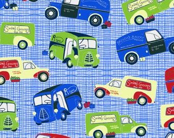 Patchwork Quilting Fabric Jane Makower Imprint Grocery Vans Blue 6783 B35