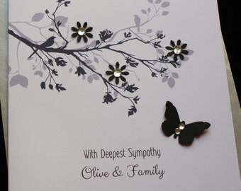 Handmade Personalised Sympathy/ Condolence / Thinking of You Card