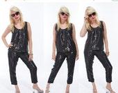 SALE Vtg 80s 2 PIECE SET Tank Top Palazzo Pants Shiny Liquid Metallic Minimal Resort Loungewear Jumpsuit Avant Garde Goth Chic Retro Glam La