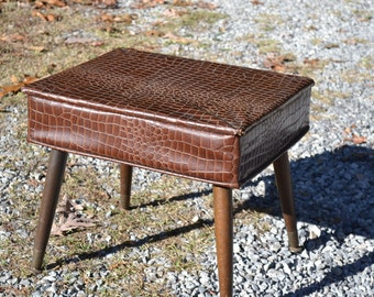 Vintage Sewing Chair Faux Lizard Brown Mid Century Seat with Storage Modern Home Decor PanchosPorch