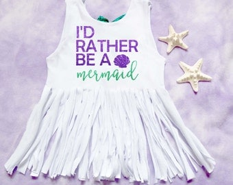 girls/baby I'd rather be a mermaid fringe low back bow tank top shirt handmade//baby//toddler//mermaid//girls//birthday//summer//coverup