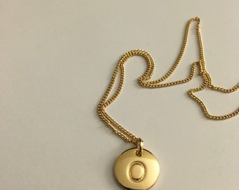 Stamped Letter O Charm Necklace