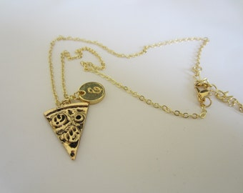 Initial E Inspired Pizza Necklace