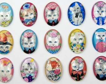Photo Glass Cabochons Ovals Lovely cat Handmade domed Glass Cabochons beading photo cabochons pendant cabochons supplies F+380