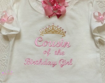 Cousin Of The Birthday Girl Shirt or Onesie, Pink and Gold Colors