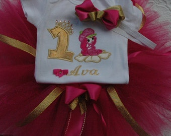 Strawberry Pink and Gold 1st Birthday Outfit