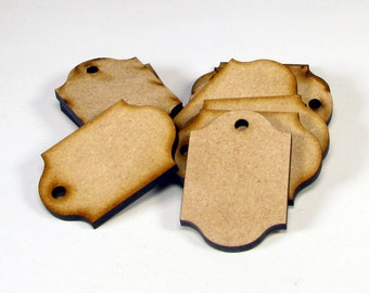 Laser Cut Unfinished Wood Tag Shapes Craft Suppies