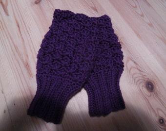 Lacy Hand Crochet Hand warmers. Fingerless Gloves in Purple .