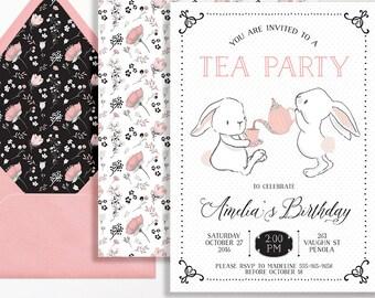 Tea Party Invitation Bunnies Bunny Rabbit Girls Pink Black White Script Floral Flowers Spot Printable Blush Girl Birthday 1st 2nd 3rd 4th