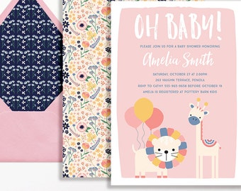 Jungle Baby Shower Invitation Oh Baby Balloons Lion Giraffe Pink Peach Yellow Blue Printable Sprinkle Girl Safari Flowers Floral