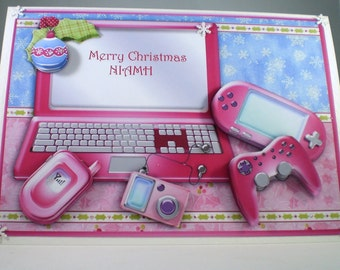 Handmade Christmas Card,Pink Computer,Decoupage,3D,Personalise