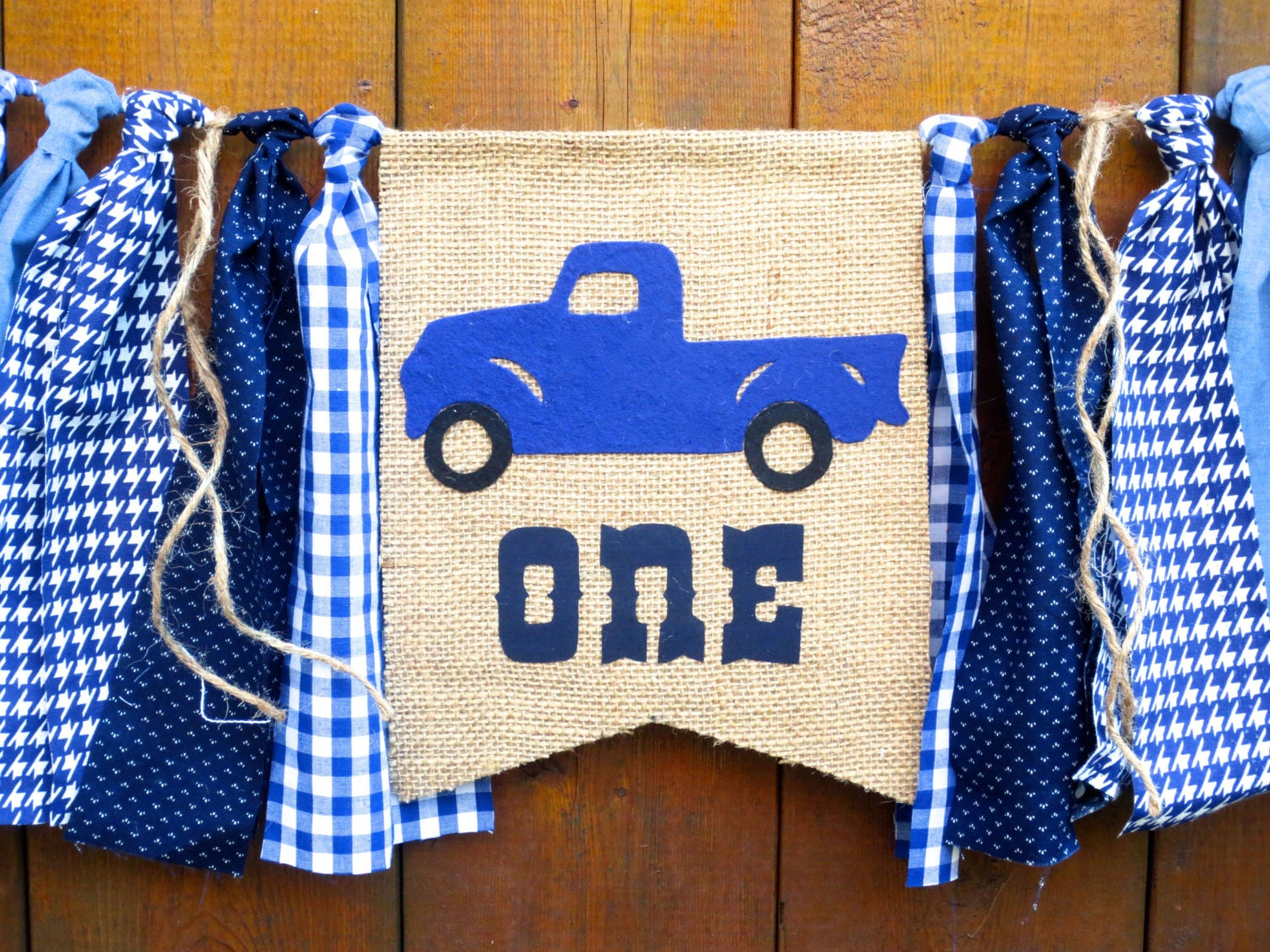 Little blue truck birthday banner highchair high chair vintage for Little blue truck fabric