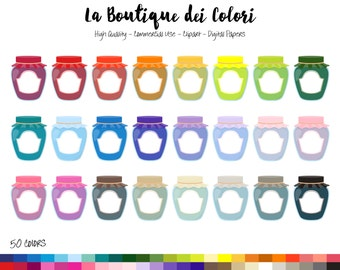 50 Rainbow Jam jar Clip art, Graphics PNG, colorful Fruit preserves, Cute marmalade, Spread Clipart, Planner Stickers Commercial Use