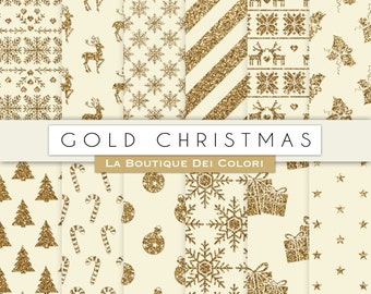 Vintage Gold Christmas digital paper, gold background, christmas tree, stars, snowflakes background for Commercial Use