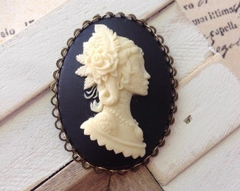 Gypsy Skeleton Cameo Brooch,Boho,Bohemian Princess,Gothic,Goth,Pinup,Rockabilly,Day of the Dead Jewelry,Vintage Inspired