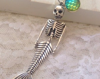 Mermaid Skeleton Necklace, Mermaid Scales, Mermaid Tale, Bones, Nautical, Mermaid Jewelry, Gift