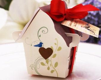 10 pcs DIY Sweet Bird House Favor Box with Satin Ribbon (ENWF-WS9099)