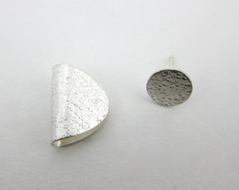 textured sterling silver ear wrap and stud earring
