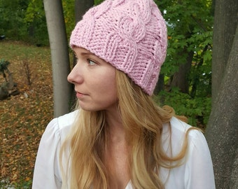 Cable Knit Hat - Pink