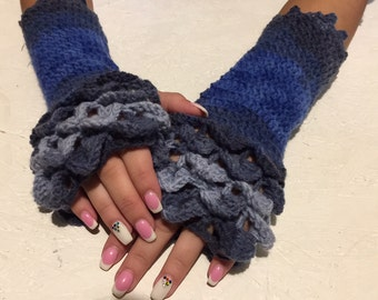 Dragon scale gloves Fingerless Crocheted Gloves women fingerless gloves crochet women's gloves women's Arm Warmers winter gift Accessory