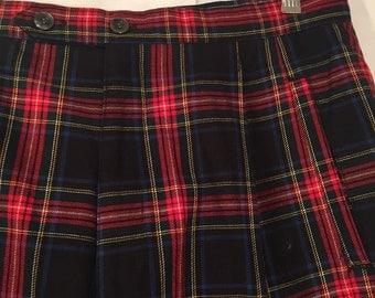 Vintage Women's Large L Stewart Black Tartan Red Blue White Yellow Plaid Pants 80s Pleated Gap Vintage 15/16 Preppy