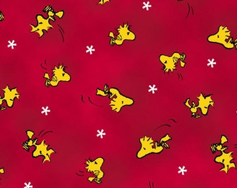 One Yard Peanuts - Snoopy the Flying Ace - Woodstock Toss in Red - Cotton Quilt Fabric - Quilting Treasures - 24014-R (W3131)