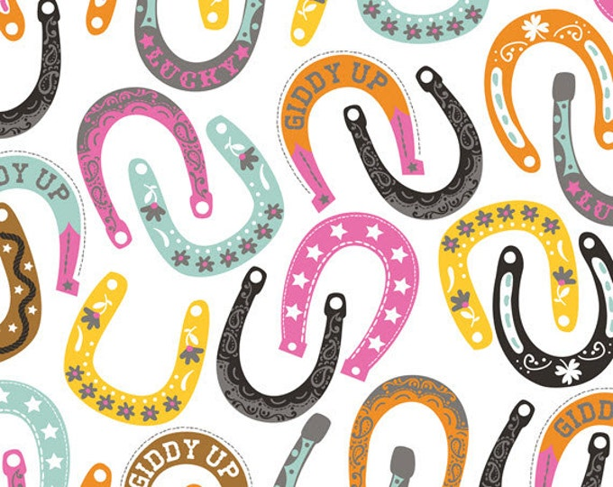 One Yard Luckie - Lucky Charm in White - Horseshoes Cotton Quilt Fabric - by Maude Asbury for Blend Fabrics - 101.115.02.2 (W3452)