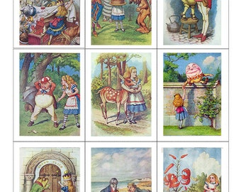 Fabric Panels x 9; Alice Through the Looking Glass , Vintage, Quilting, 100% cotton, Applique, Craft