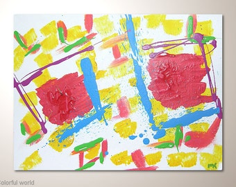 """Inexpensive multicolor fine art painting on watercolor paper:""""Colorful world"""" -12x9 inches. Original abstract art,wall hanging for frame"""