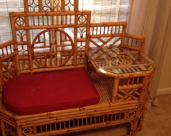 Gorgeous brighton style bamboo chinese chippendale settee