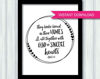 Acts 2:46 Printable - Broke bread and ate together - dining room art