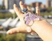 Amethyst Handflower bracelet Lapis lazuli ring Vintage ring Bead Maille Rose Quartz Tribal fusion bracelet Slave Bracelet Gypsy bracelet