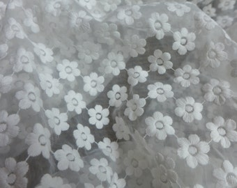 SALE Little Flower Gauze Embroidered Fabric in White for Gown, Girl Dress, Curtains, Costume