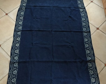 Indigo Blue Dyed Poinsettia Border Hungarian Vintage Fabric