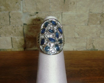 Natural Blue Sapphire and CZ ring in Sterling Silver, Size 5 1/2