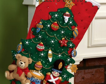 "Bucilla ~ Under the Tree ~ 18"" Christmas Stocking Kit #86303 DIY"