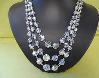 1940's Triple Strand wire Threaded Clear AB Crystal Necklace