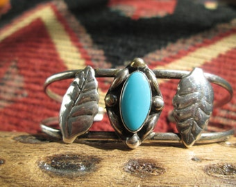 Turquoise and Sterling Feathers Cuff Bracelet